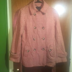 Talbots Gingham Double-Breasted Wool Blend Jacket
